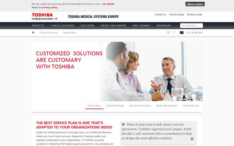 Screenshot of Support Page toshiba-medical.eu - Service Plans | Toshiba Medical Systems Europe - captured Oct. 7, 2014