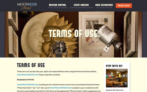Screenshot of Terms Page moonrisehotel.com - Terms of Use | St. Louis Boutique Hotel | Moonrise - captured Oct. 26, 2014