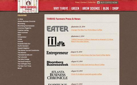 Screenshot of Press Page thrivefarmers.com - Press | THRIVE Farmers Coffee - captured Oct. 9, 2014