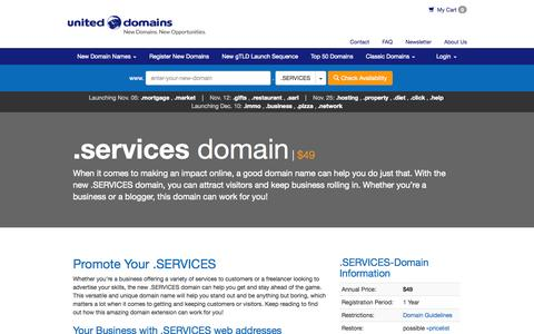 Screenshot of Services Page uniteddomains.com - .SERVICES Domain Name Extension Registration • United Domains - captured Nov. 4, 2014