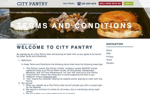 Screenshot of Terms Page citypantry.com - Terms and Conditions | City Pantry - captured July 13, 2016