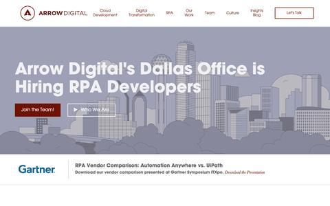 Screenshot of Home Page arrowdigital.com - Arrow Digital - captured March 13, 2019