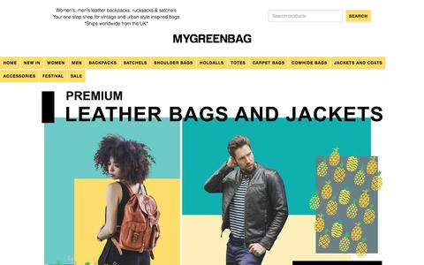 Screenshot of Home Page mygreenbag.co.uk - Leather Backpacks   Rucksacks   Satchels   Men's   Women's - captured May 10, 2017