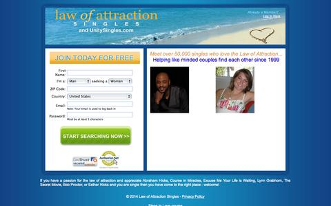 Screenshot of Home Page lawofattractionsingles.com - Law Of Attraction Singles - captured Sept. 19, 2014