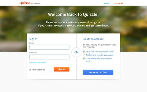 Screenshot of Login Page quizzle.com - Sign in to See Your Free Credit Score and Free Credit Report | Quizzle - captured Sept. 18, 2014