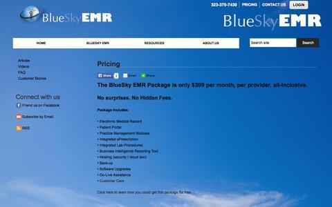 Screenshot of Pricing Page blueskyemr.org - Pricing :: BlueSky EMR - captured Sept. 30, 2014