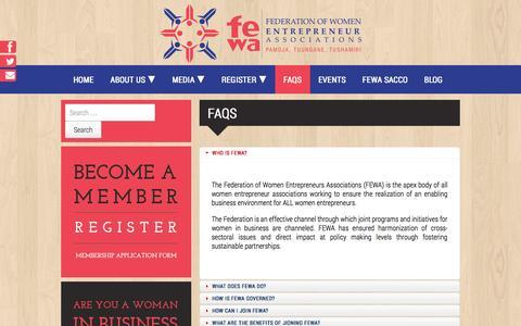Screenshot of FAQ Page fewa.or.ke - FAQS - FEWA - captured Oct. 5, 2014