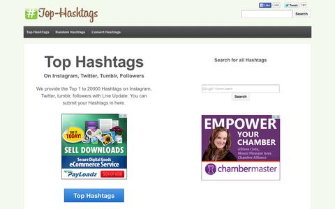 Screenshot of Home Page top-hashtags.com - Top Hashtags on Instagram - captured Sept. 18, 2014