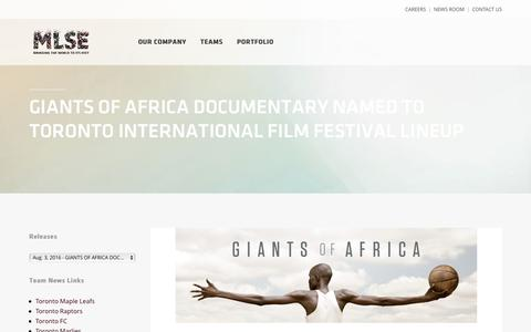 Screenshot of Press Page mlse.com - GIANTS OF AFRICA DOCUMENTARY NAMED TO TORONTO INTERNATIONAL FILM FESTIVAL LINEUP | MLSE - captured Sept. 26, 2016