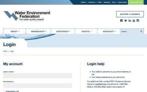 Screenshot of Login Page wef.org - Login - captured Oct. 27, 2017