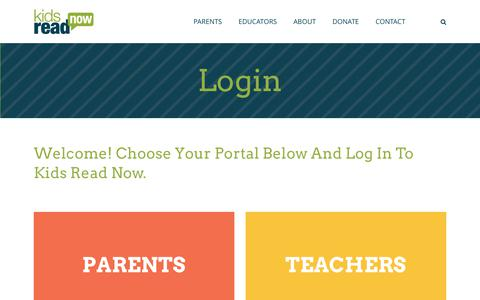 Screenshot of Login Page kidsreadnow.org - Login - Kids Read Now | K-3 Summer Reading Program - captured June 9, 2017