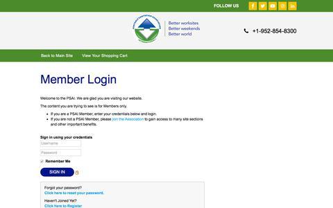 Screenshot of Login Page psai.org - Portable Sanitation Association International - captured Jan. 23, 2020