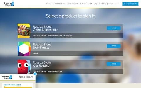 Screenshot of Login Page rosettastone.com - Login - captured Sept. 28, 2017