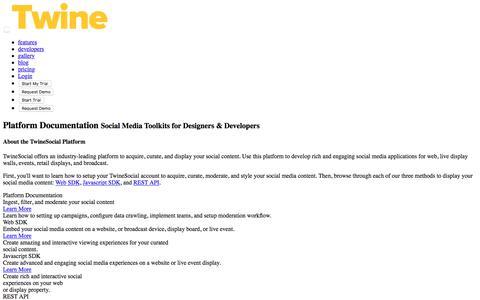 Screenshot of Developers Page twinesocial.com - Social Media Platform API - captured June 6, 2018