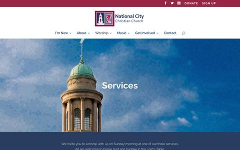 Screenshot of Services Page nationalcitycc.org - Services | National City Christian Church - captured Oct. 19, 2017