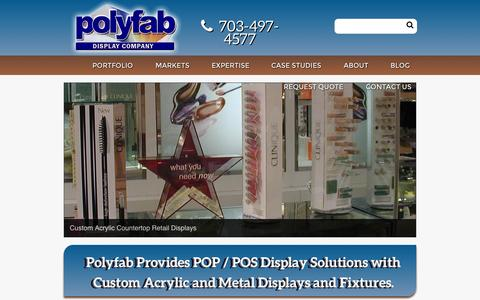 Screenshot of Home Page polyfab-display.com - Custom plastic displays, pop custom displays, medical custom displays - Polyfab Display Company - captured Sept. 18, 2015