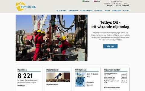 Screenshot of Home Page tethysoil.com - Tethys Oil | - finding energy for the future - captured Oct. 7, 2014