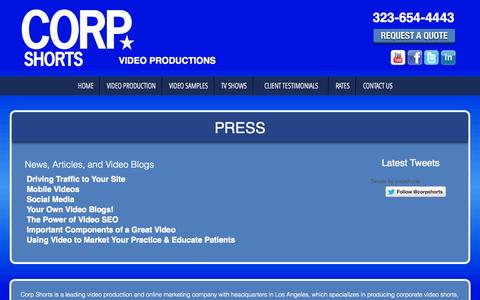 Screenshot of Press Page corpshorts.com - Press | Orange County Video Production, video marketing, corporate video productions, website internet marketing, corporate internet marketing, video production studio - captured Oct. 3, 2014