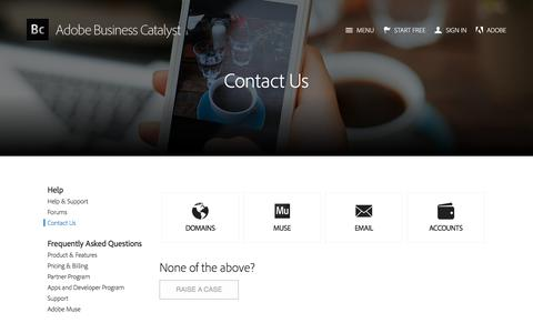Screenshot of Contact Page businesscatalyst.com - Adobe Business Catalyst - Contact - captured June 17, 2017