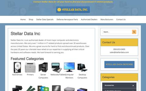 Screenshot of Home Page stellardata.com - Contact Stellar Data for all your hard to find and discontinued IT related products - captured Oct. 18, 2018