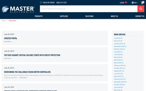 Screenshot of Press Page masterelectronics.com - Master Electronics - Electronic Component Distributor - captured Aug. 16, 2019