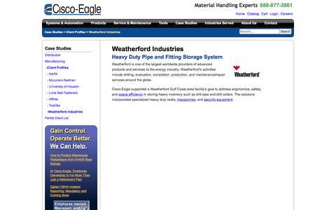 Screenshot of Case Studies Page cisco-eagle.com - Tube & Pipe Conveyor System for Wetherford - captured Jan. 5, 2017