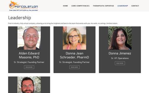 Screenshot of Team Page percolationcom.com - Percolation Communications, LLC - Leadership - captured Sept. 27, 2018