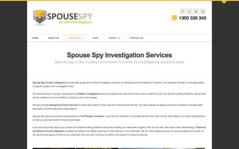 Screenshot of Services Page spousespy.com.au - Spouse Spy - Our Services - captured Oct. 6, 2014
