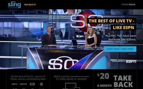 Screenshot of Home Page sling.com captured Nov. 10, 2015