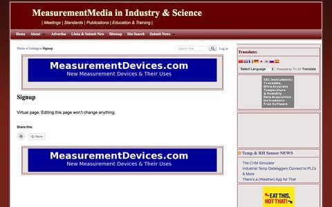 Screenshot of Signup Page measurementmedia.com - Signup | MeasurementMedia in Industry & Science - captured Jan. 18, 2016