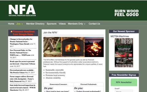 Screenshot of Signup Page nationalfirewoodassociation.org - Join the NFA! – National Firewood Association - captured June 19, 2017