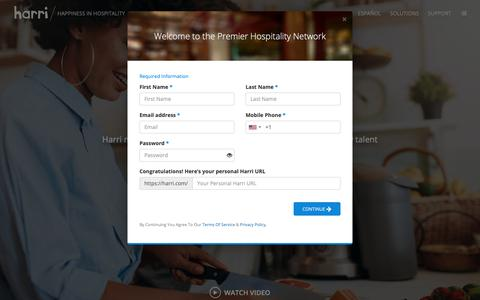 Screenshot of Signup Page harri.com - Happiness in Hospitality - HARRI - captured Sept. 27, 2018