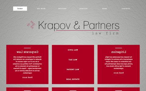 Screenshot of Home Page krapov.com - Krapov | Law Firm - captured Jan. 22, 2016