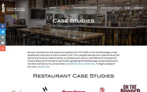 Screenshot of Case Studies Page foodanddrinkresources.com - Food/Beverage Concept Development | FDRFood & Drink Resources - captured Aug. 19, 2018