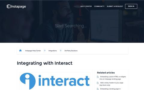 Screenshot of Support Page instapage.com - Integrating with Interact – Instapage Help Center - captured Nov. 9, 2018