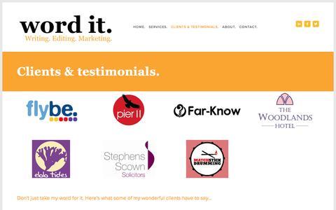 Screenshot of Testimonials Page wordit.biz - Clients & testimonials. — Word It - captured Nov. 30, 2016