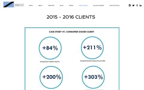 Screenshot of Case Studies Page wardandfifth.com - Ward & Fifth Consulting, Helping startups & established companies grow - captured Dec. 21, 2016