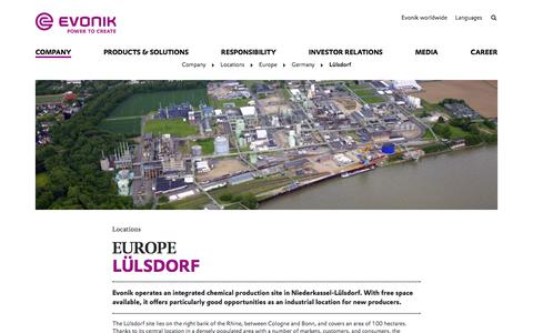 Evonik Industries - Specialty Chemicals - Sites - Lülsdorf (Germany) - Evonik Industries AG