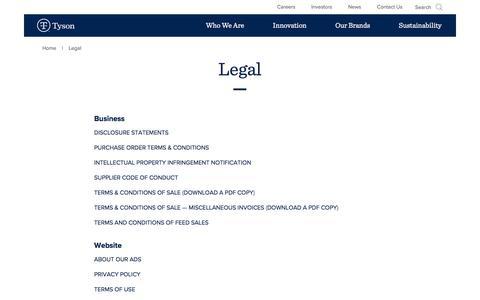 Screenshot of Terms Page tysonfoods.com - Legal   Tyson Foods, Inc. - captured Dec. 25, 2017