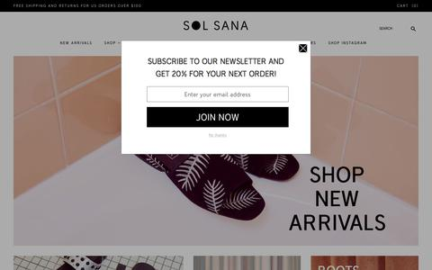 Screenshot of Home Page sol-sana.com - Sol Sana | Women's Shoes | Buy Sol Sana Online - Sol Sana USA & Global - captured Feb. 27, 2018