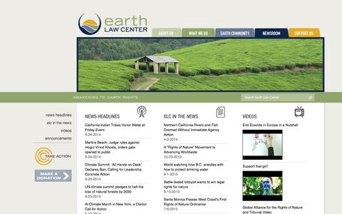 Screenshot of Press Page earthlawcenter.org - Earth Law Center - Newsroom - captured Sept. 26, 2014