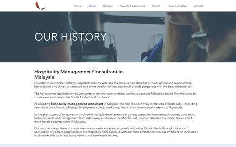 Screenshot of About Page lumirahotels.com - About Hospitality Management Consultant In Malaysia - Lumira Hotels - captured Sept. 29, 2018