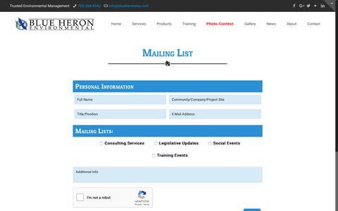 Screenshot of Signup Page blueheronenv.com - Maling List | Blue Heron Environmental - captured Oct. 6, 2018