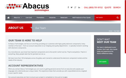 Screenshot of Team Page abacuselect.com - Our Team | Abacus Technologies | Electronic Component Distributor - captured Oct. 2, 2018