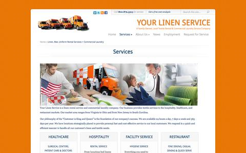 Screenshot of Services Page yourlinenservice.com - Linen, Mat, Uniform Rental Services + Commercial Laundry - captured Sept. 30, 2014