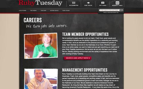 Screenshot of Jobs Page rubytuesday.com - Careers - Ruby Tuesday - captured Sept. 25, 2014