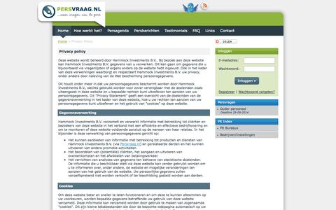 Screenshot of Privacy Page persvraag.nl - Privacy Policy | Persvraag - captured Sept. 29, 2014