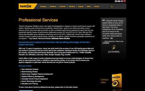 Screenshot of Services Page havok.com - Professional Services | Havok - captured Oct. 31, 2014