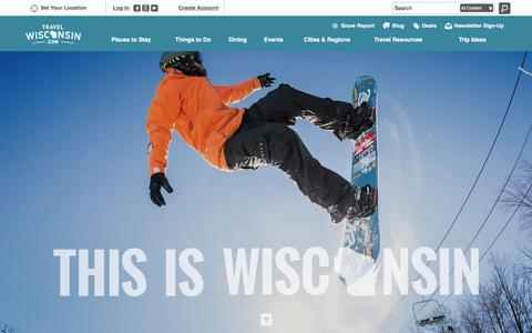 Screenshot of Home Page travelwisconsin.com - Wisconsin's Official Travel & Tourism Site   TravelWisconsin - captured Jan. 20, 2016