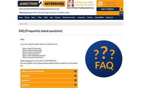 Screenshot of FAQ Page junction2interiors.co.uk - FAQ (Frequently asked questions) | junction 2 interiors - captured Oct. 29, 2014